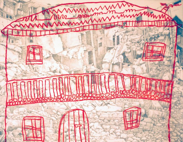 Gini Wade_Home 1_2 run lithograph on stone and plate_30x39cm_collaboration with Celeste Boulanger aged 7