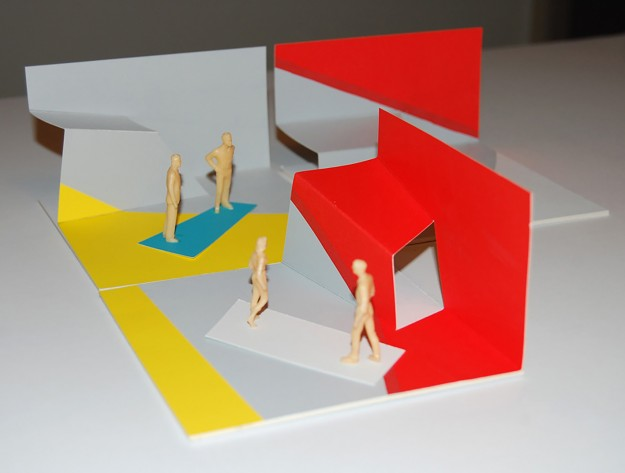 Ian Scaife_Paper Structures_Grey Yellow Red_model_11x11x6cm