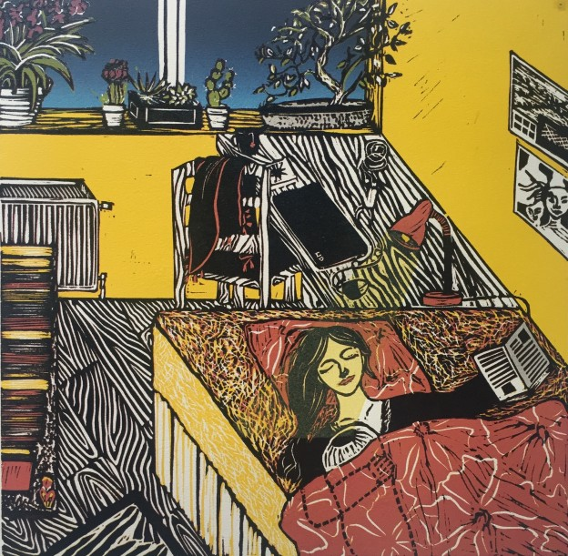 Amrita Saraogi_The Yellow London Room Where I Learnt to be Happy Alone_Linocut (1)